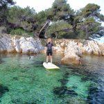 Séverine sur son paddle aux iles du Lérins