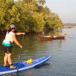 Melanie en paddle au Myanmar