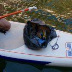 un sac de déchets sur un paddle